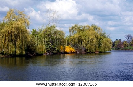 Lake Hoyt-Delaware Park-Buffalo New York Landmark - stock photo