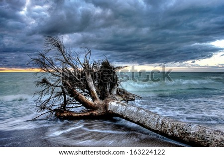 Lake Huron, bounded on the west by the U.S. state of Michigan, and on the east by the province of Ontario, Canada - stock photo