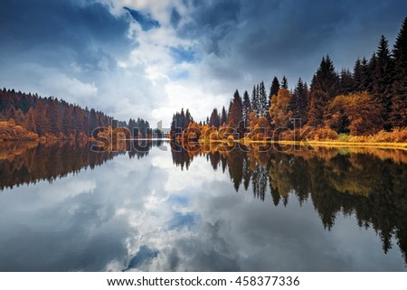 lake in a forest,Sumava - national park, Czech republic, Europe - stock photo