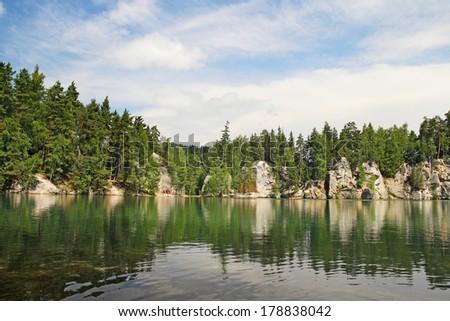 Lake in Adrspach-Teplice Rocks, Czech Republic - stock photo