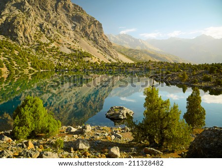 Lake in Fann mountains, Tajikistan - stock photo