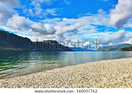 Lake in France near Annecy city - stock photo