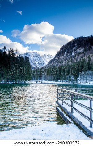 Lake in Jezersko, Slovenia during winter - stock photo