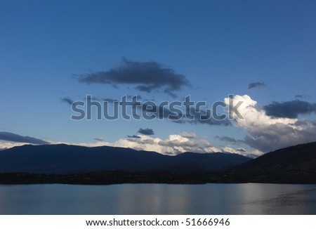 Lake in Morocco in the evening - stock photo
