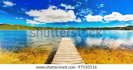 Lake in New Zealand. Panorama - stock photo
