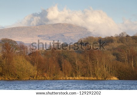 Lake in North Wales with view of Snowdonia National Park - stock photo