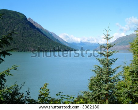 Lake in the Kenai Peninsula in Alaska - stock photo