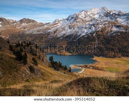 Lake in the Swiss Alps - Beautiful landscape in the Swiss Alps on a day in autumn.