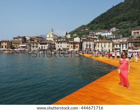 LAKE ISEO, ITALY - CIRCA JUNE 2016: The Floating Piers site specific landscape artwork by Christo and Jeanne Claude