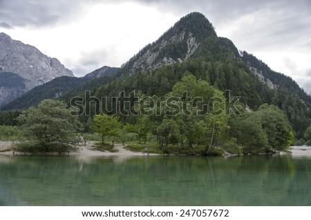 Lake Jasna in Kranjska Gora, Slovenia - stock photo