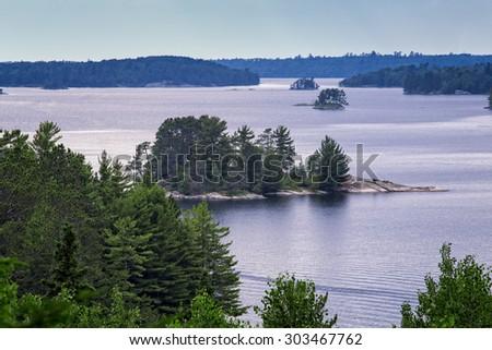 Lake Kabetogama, Evening, Voyageurs National Park, Minnesota, USA - stock photo