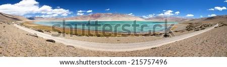 Lake Kar or Tso Kar - Rupshu valley, Ladakh, Jammu and Kashmir, India - stock photo