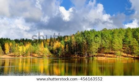 lake landscape during Fall season - stock photo