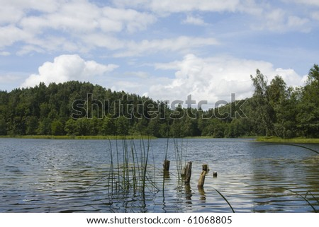 lake landscape in summer sunny day on beauty sky