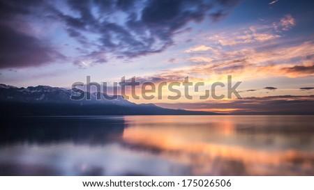 Lake leman sunset, Switzerland - stock photo