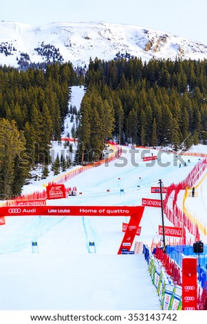 LAKE LOUISE, ALBERTA CANADA - DEC.7.2015. : The slope where 56 official entry will speeds down  during the Audi FIS Alpine Ski World Cup Ladies Super G race. The average speed is 110 km/h .  - stock photo