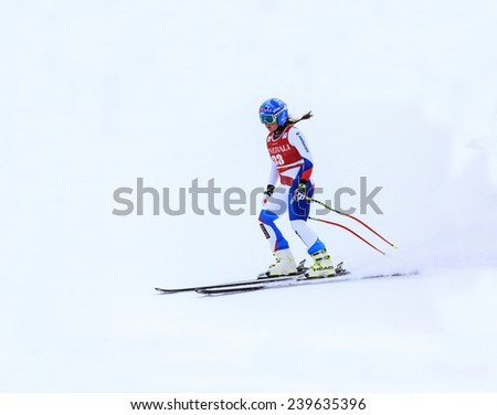 LAKE LOUISE ALBERTA CANADA  6 DECEMBER 2014: . Fabienne Suter  (SUI) reacts in the finish area after competing in the women's Audi FIS Alpine Skiing World Cup giant slalom race.  - stock photo