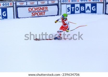 LAKE LOUISE ALBERTA CANADA  6 DECEMBER 2014: Michaella Wenig (Germany)  reacts in the finish area after competing in the women's Audi FIS Alpine Skiing World Cup giant slalom race.  - stock photo