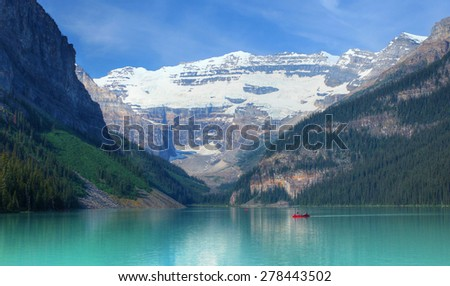 Lake Louise in the Canadian Rockies - stock photo