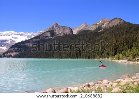 Lake Luise in Banff National Park in Alberta, Canada - stock photo