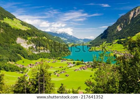 Lake Lungern Valley from Brunig Pass, Switzerland - stock photo