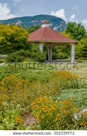 lake lure and chimney rock landscapes - stock photo