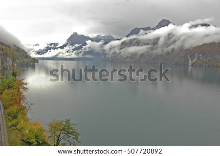 Lake Luzern on a misty autumnal day, in Switzerland