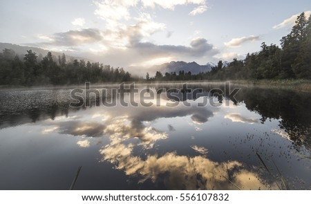 Lake Matheson reflection on lake New Zealand