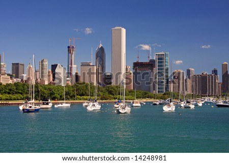 Lake Michigan and Chicago's Skyline with New Construction Underway