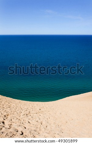 Lake Michigan as seen from the bluff at Sleeping Bear Dunes National Lakeshore - stock photo