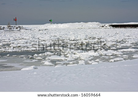 Lake Michigan in the Winter is a frozen landscape - stock photo