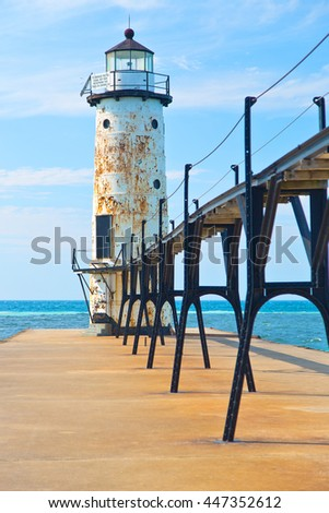 Lake Michigan Lighthouse in Manistee Michigan - stock photo