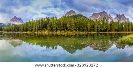 Lake Misurina, Auronzo di Cadore, Dolomites,Italy - panorama - stock photo