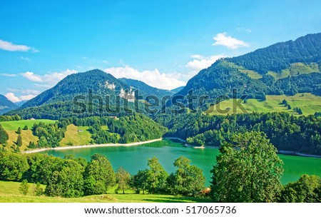 Lake Montsalvens and Prealps mountains in Gruyere district in Canton Fribourg in Switzerland