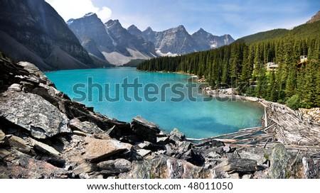 lake moraine - stock photo