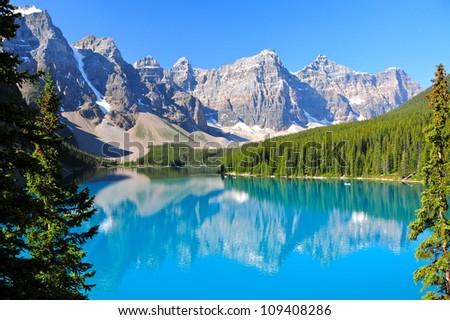 Lake Moraine, AB, Canada - stock photo