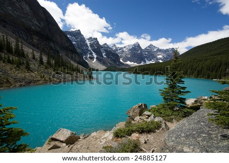 Lake Moraine, Canadian Rockies - stock photo