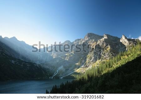 """Lake """"Morskie Oko"""" in the Tatra Mountains. - stock photo"""
