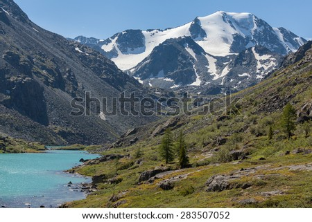 lake, mountain, glacier,  - stock photo