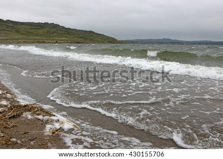 lake, mountains, shore, waves, wind, storm, asia, nature, morning, travel, tourism, vacation, summer, spring, Kazakhstan, overcast