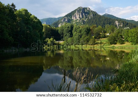 Lake near Smolyan town, Rhodope mountains, Bulgaria in summer season - stock photo