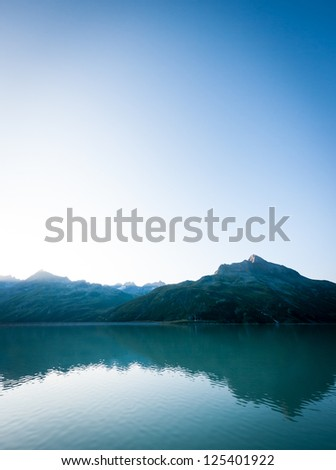 lake near the euopean alps - stock photo