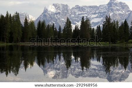 Lake of Antorno (lago d'Antorno), ) and the mountains of the 'Gruppo di Cristallo', Auronzo di Cadore, Sexten Dolomites, South Tyrol, Italy - stock photo