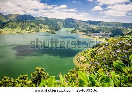 Lake of Sete Cidades, Azores, Portugal Europe - stock photo
