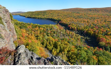 Lake of the clouds in fall color - stock photo