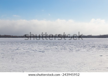 Lake Ontario in the Winter with copyspace - stock photo
