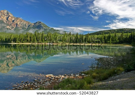 Lake Patricia in Jasper national park. - stock photo