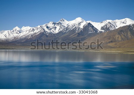 Lake Peikucuo and Mount Xixiabangma in tibet, china - stock photo