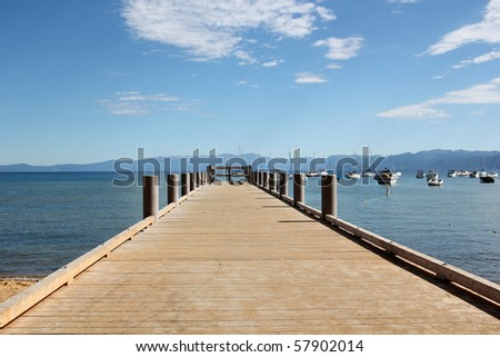 Lake pier - stock photo