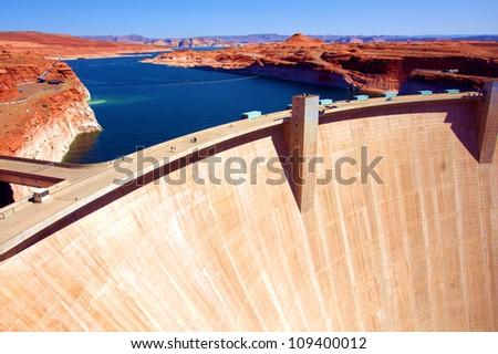 Lake Powell and Glen Canyon Dam in the Desert of Arizona,United States - stock photo